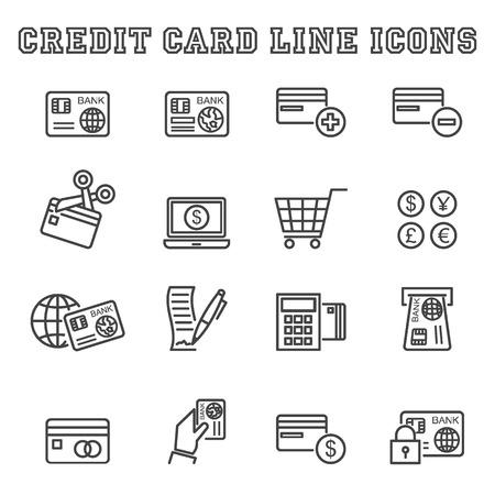 pay cuts: credit card line icons, mono symbols