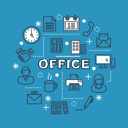 minimal: office minimal outline icons, vector pictogram set