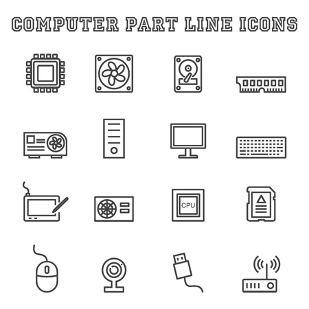 computer part: computer part line icons, mono vector symbols Illustration