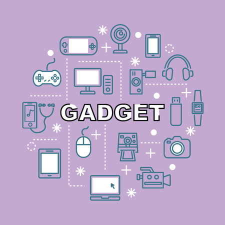 gadget minimal outline icons, vector pictogram set