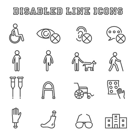 blind dog: disabled line icons, mono vector symbols Illustration