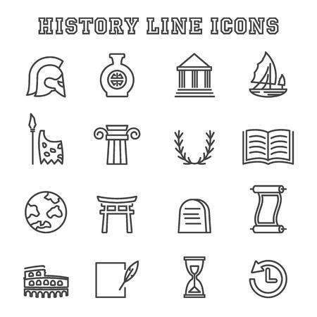 history line icons, mono vector symbols Illustration