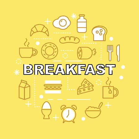 breakfast minimal outline icons, vector pictogram set
