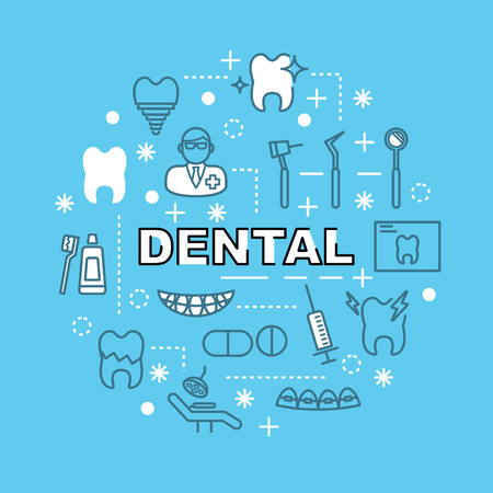 chipped: dental minimal outline icons, vector pictogram set Illustration