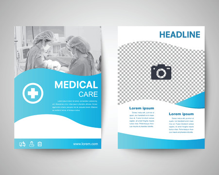 blue medical flyer template, brochure background, leaflet with cover, vector design in a4 size for business