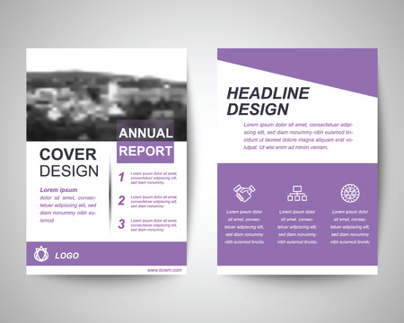 magazine template: purple city abstract flyer layout template, brochure background, leaflet with cover, vector design in a4 size for business Illustration