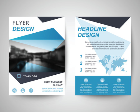 flyer design: blue abstract flyer layout template, brochure background, leaflet with cover, vector design in a4 size for business annual report Illustration