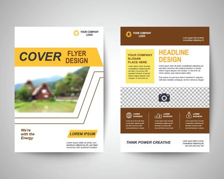 design background: yellow abstract flyer layout template, brochure background, leaflet with cover, vector design in a4 size for business annual report