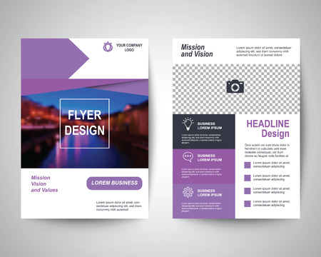magazine template: purple abstract flyer layout template, brochure background, leaflet with cover, vector design in a4 size for business annual report