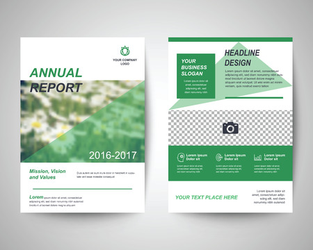 a4: green abstract flyer layout template, brochure background, leaflet with cover, vector design in a4 size for business annual report