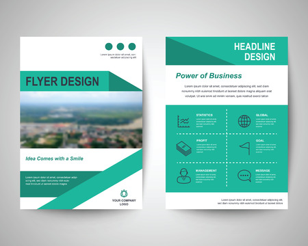flyer design: green abstract flyer layout template, brochure background, leaflet with cover, vector design in a4 size for business annual report