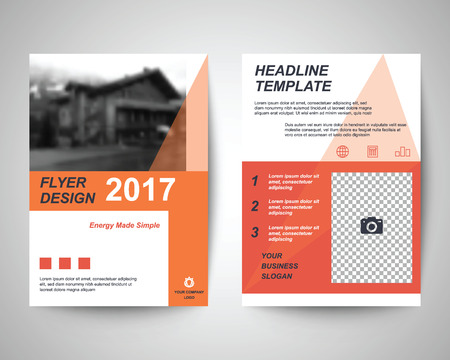 business flyer: orange abstract flyer layout template, brochure background, leaflet with cover, vector design in a4 size for business annual report