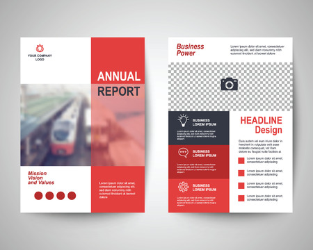 brochure cover design: red abstract flyer layout template, brochure background, leaflet with cover, vector design in a4 size for business annual report Illustration