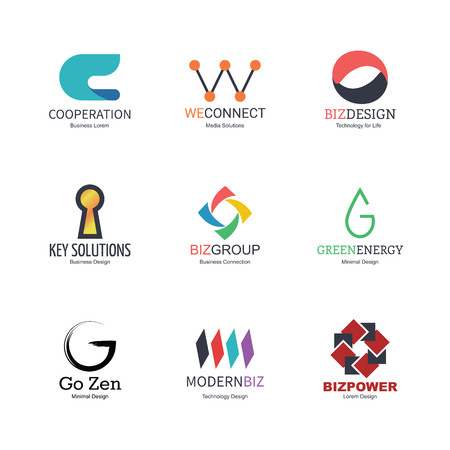 c a w: abstract icons design, vector minimal elements for business identity, isolated on white background
