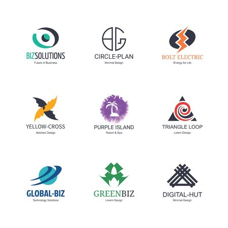 global design: abstract logo icons design, vector minimal elements for business identity, isolated on white background