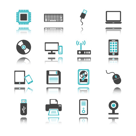 lcd monitor printer: computer and device icons with reflection isolated on white background