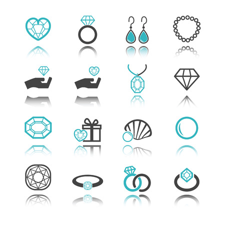 ring ruby: jewelry icons with reflection isolated on white background