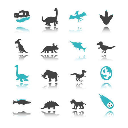 saber tooth: dinosaur icons with reflection isolated on white background Illustration