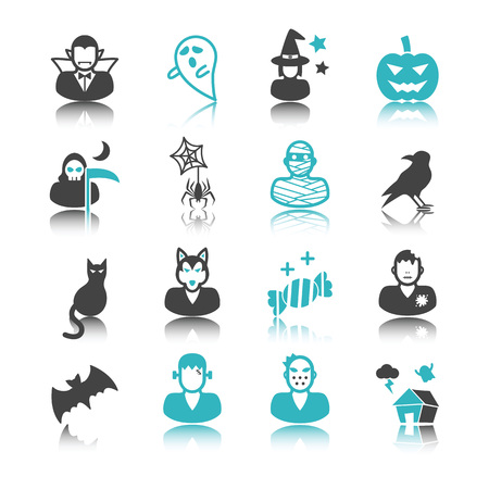 ghost house: halloween icons with reflection isolated on white background Illustration