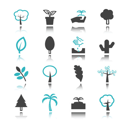 compost: tree icons with reflection isolated on white background Illustration