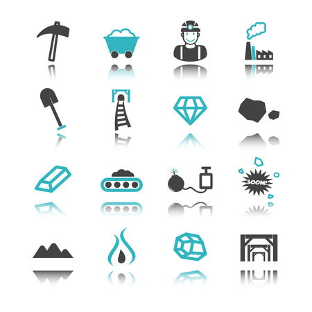 gold mining: mining icons with reflection isolated on white background