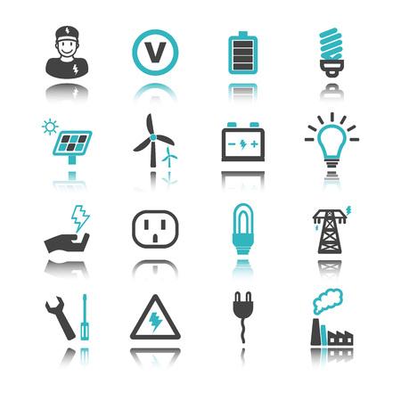electricidad industrial: Iconos de la electricidad con la reflexión aisladas en el fondo blanco