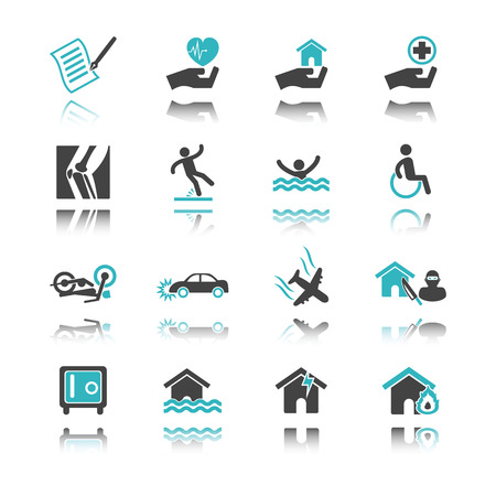 protection icon: insurance icons with reflection isolated on white background
