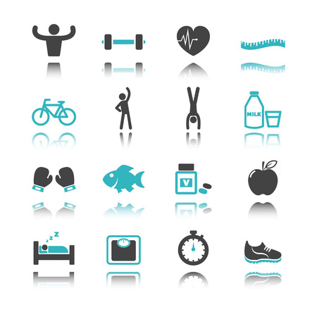 boxing tape: healthy icons with reflection isolated on white background