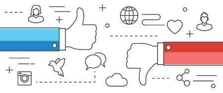 media icons: thumbs up and thumbs down line vector design with icons on white banner background, social media like and dislike concept