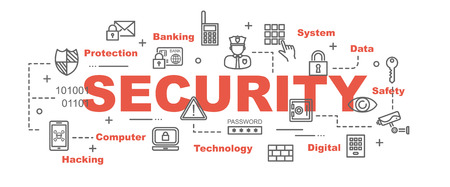 security vector banner design concept, flat style with thin line art security icons on white background Ilustração