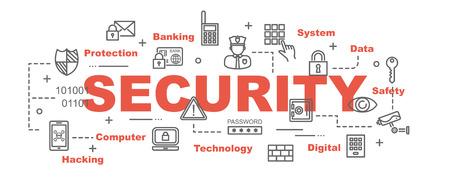 veiligheid vector banner ontwerpconcept, vlakke stijl met dunne lijn kunst veiligheid pictogrammen op witte achtergrond