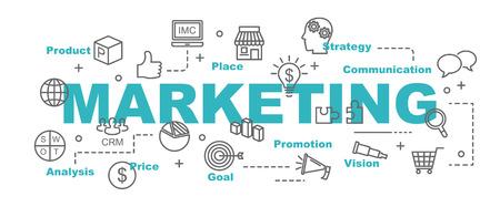 Marketing-Vektor-Banner-Design-Konzept, flachen Stil mit dünnen Linie Kunst-Business-Symbole auf weißem Hintergrund Vektorgrafik
