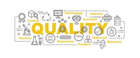 Concetto di design banner vettore di controllo di qualità, stile piatto con icone di qualità di arte sottile linea su sfondo bianco