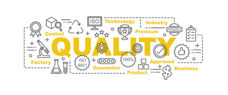 quality control vector banner design concept, flat style with thin line art quality icons on white background Illustration