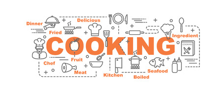 cooking vector banner design concept, flat style with thin line art cooking icons on white background