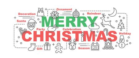 Frohe Weihnachten Vektor Banner-Design-Konzept, flachen Stil mit dünnen Linie Kunst Weihnachts-Icons auf weißem Hintergrund