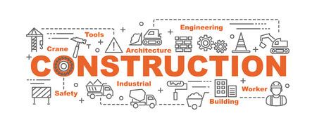 bouw vector banner ontwerpconcept, vlakke stijl met dunne lijn kunst constructie pictogrammen op witte achtergrond