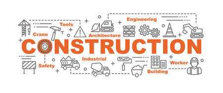 concrete construction: construction vector banner design concept, flat style with thin line art construction icons on white background Illustration