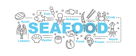 seafood: seafood vector banner design concept, flat style with thin line art seafood icons on white background