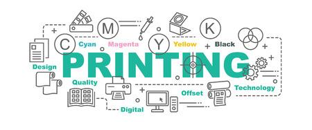 Tisk vektorové designu banner koncepce, plochý styl s tenkou linku umělecký tisk ikony na bílém pozadí