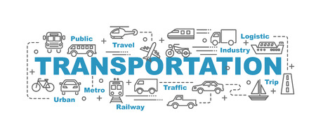 portage: transportation vector banner design concept, flat style with thin line art transportation icons on white background