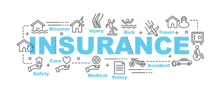 disaster: insurance vector banner design concept, flat style with thin line art insurance icons on white background