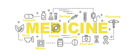 medicate: medicine vector banner design concept, flat style with thin line art medicine icons on white background