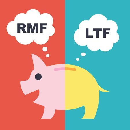 long term: LTF and RMF, long term funds vector financial concept, flat style