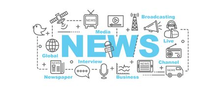 news van: news vector banner design concept, flat style with thin line art news icons on white background Illustration
