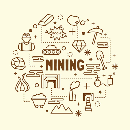 gold mining: mining minimal thin line icons set, vector illustration design elements Illustration