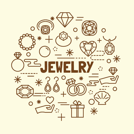 jewelry minimal thin line icons set, vector illustration design elements Illustration