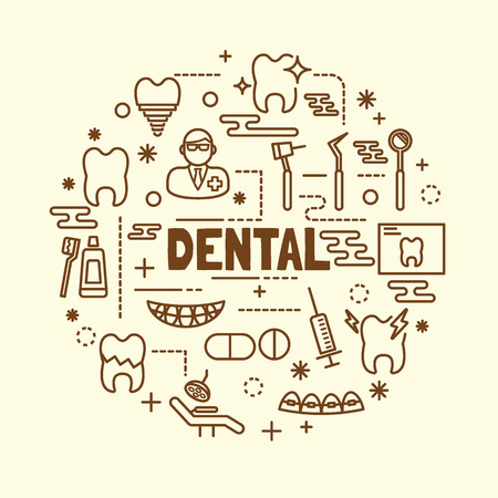 chipped: dental minimal thin line icons set, vector illustration design elements