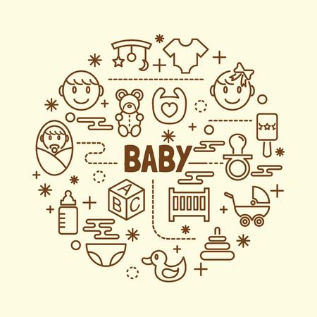 baby minimal thin line icons set, vector illustration design elements