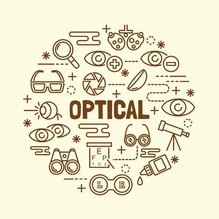 eye doctor: optical minimal thin line icons set, vector illustration design elements